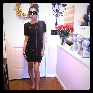 Chic Mango Suit Black With Orange Trim Midi Dress
